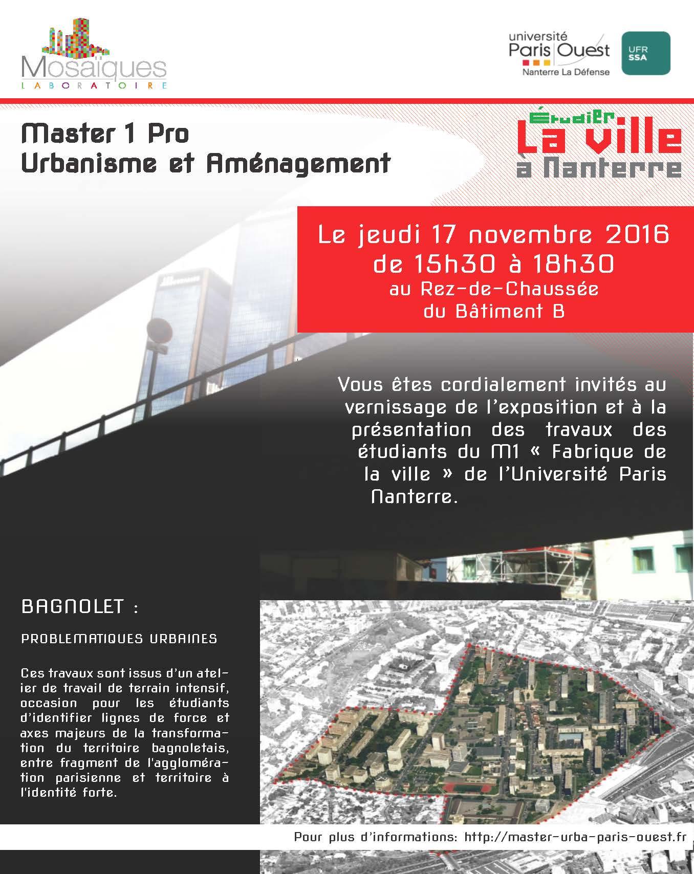Master urba paris ouest vernissage bagnolet for Expos paris novembre 2016